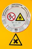 stock photo of retarded  - Sticker on safety cabinet for chemicals in chemistry lab - JPG
