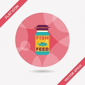 pic of long-fish  - Pet Fish Feed Flat Icon With Long Shadow - JPG