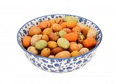 Seaweed Peanuts In A Blue And White China Bowl