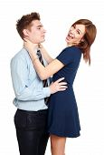 Girl Having Fun With Her Boyfriend, Figuring Out Relationships, Isolated On White Background