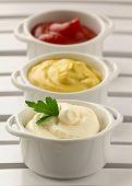 mustard, ketchup and mayonnaise - three kinds of sauces
