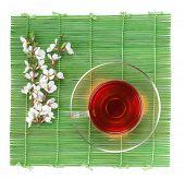 picture of sakura  - Japanese green tea and sakura branch over bamboo mat - JPG