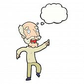 cartoon frightened old man with thought bubble