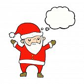 cartoon dancing santa with thought bubble