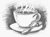Drawing cup of coffee or tea