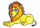 Cartoon yellow lion lies on front paws