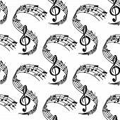 Wavy music stave seamless pattern