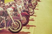 Vintage Motobikes In A Row