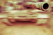 Army Tank Motion Blur, Close Up On Gun Barrel