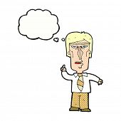 cartoon grumpy boss with thought bubble
