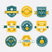 Tennis Sporting Vintage Emblems, Labels Banners Or Logo