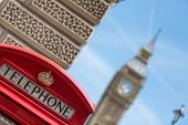 image of phone-booth  - traditional red phone booths in London with the Big Ben - JPG