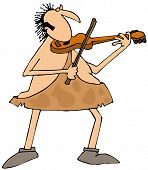 picture of caveman  - This illustration depicts a caveman playing a violin - JPG