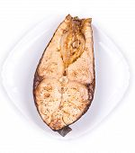 Grilled carp steak.