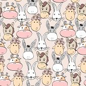 image of cute animal face  - Vector seamless  pattern with cartoon animal face - JPG