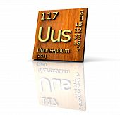 Ununseptium From Periodic Table Of Elements - Wood Board poster
