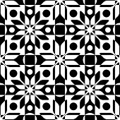 Seamless Star, Circle and Square Pattern. Abstract Black and White Background. Vector Regular Texture