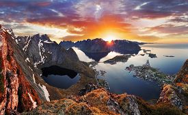 foto of reining  - Mountain coast landscape at sunset in Norway - JPG