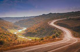 picture of long winding road  - Winding mountain road in Turkey towards Istambul - JPG