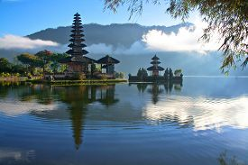 stock photo of hindu  - Hindu Pura on a lake at Bali Indonesia  - JPG