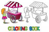 foto of ice-cream truck  - Coloring book or coloring picture of small girl with ice cream near the ice - JPG