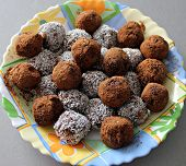 image of truffle  - Homemade chocolate truffles on a colorful plate - JPG