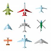 stock photo of propeller plane  - Set of vector flat airplane - JPG