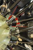 foto of exposition  - detailed exposition of the old piston aircraft engine - JPG