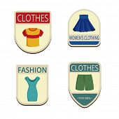 stock photo of short skirt  - Clothes Vintage Labels vector icon design collection - JPG