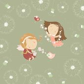 picture of little angel  - Two little angels with flowers - JPG