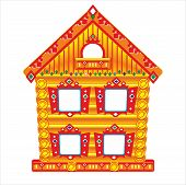 stock photo of mansion  - Mansion House for a puppet theater screens on the table for children - JPG