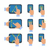 pic of reduce  - Tablets and smartphones touchscreen gestures turn select enlarge reduce icons set flat isolated vector illustration - JPG