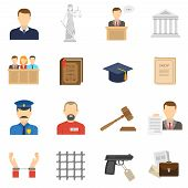 picture of proceed  - Criminal case proceeding flat icons set with lady justice and giving evidence witness abstract isolated vector illustration - JPG