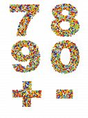 image of punctuation  - Numbers 7 through 0 and punctuation marks made from colorful glass beads on a white background - JPG