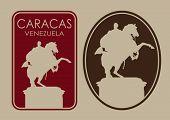 pic of bolivar  - Caracas Venezuela Seal Label - JPG