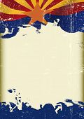 foto of waving  - Grunge waving Arizona flag poster - JPG