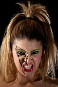 stock photo of nose ring  - Girl with Lightning Makeup Making Scary Scowl - JPG