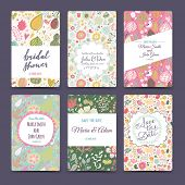 Lovely wedding romantic collection with 6 awesome cards made of hearts, flowers, wreaths and birds.  poster