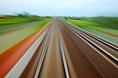 pic of high-speed  - Railway tracks with high speed motion blur - JPG