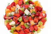 foto of fruit platter  - Close Up of Mixed Fruit Salad Platter - JPG