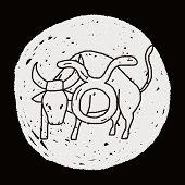 stock photo of taurus  - Taurus Constellation Doodle - JPG