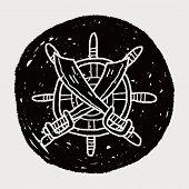 stock photo of rudder  - Knife And Rudder Doodle - JPG