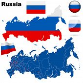 Постер, плакат: Russian Federation set Detailed country shape with region borders flags and icons isolated on whit