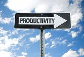 stock photo of productivity  - Productivity direction sign with sky background - JPG