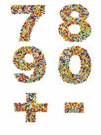stock photo of punctuation marks  - Numbers 7 through 0 and punctuation marks made from colorful glass beads on a white background - JPG
