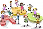 foto of chums  - Illustration of Kids Playing with Giant Letters of the Alphabet - JPG