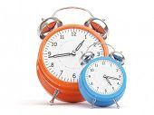 Orange and Blue Retro Clocks isolated on white Background