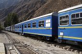 Blue train in the Machu-Picchu city, Peru