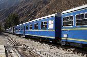 Blue train in the Machu-Picchu city, Peru
