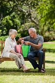 foto of old couple  - Retired couple with shopping bags in the park - JPG